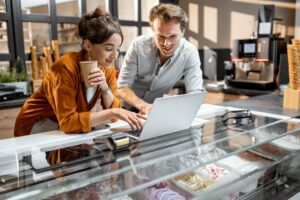 Man and woman managing their small business